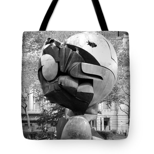 W T C Fountain Sphere In Black And White Tote Bag by Rob Hans