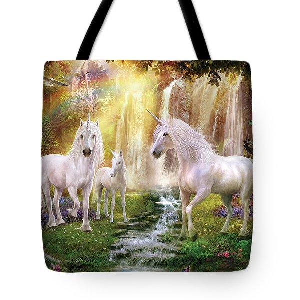 Waaterfall Glade Unicorns Tote Bag by Jan Patrik Krasny