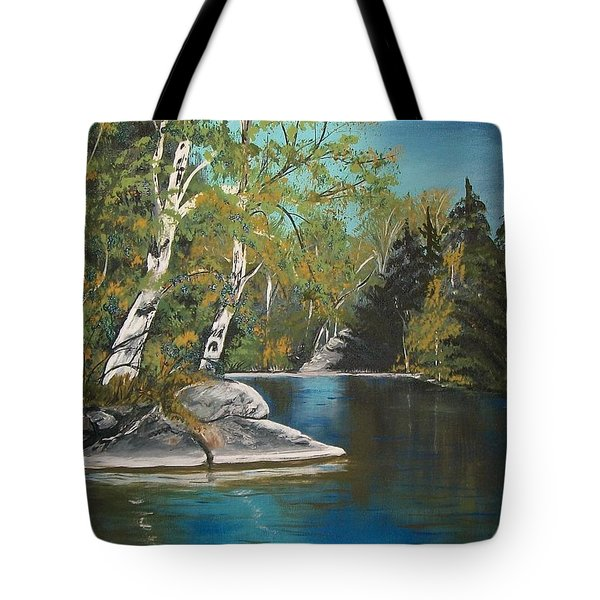 Tote Bag featuring the painting Wabigoon Lake by Sharon Duguay