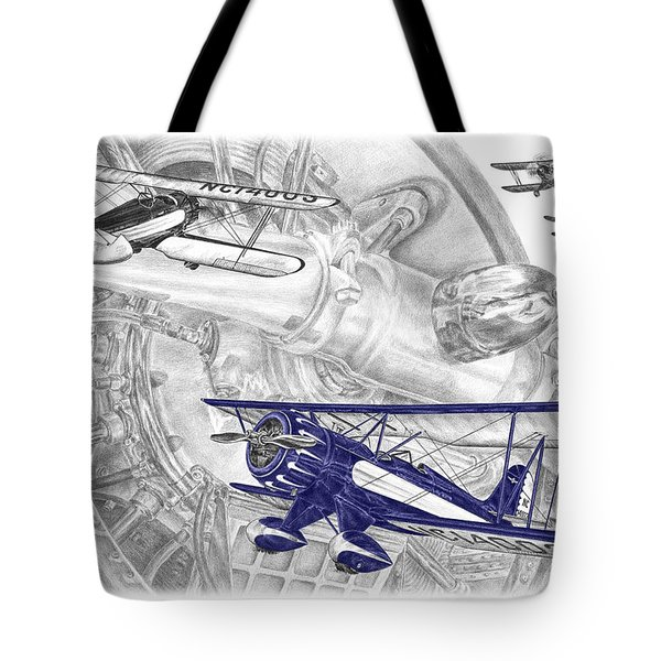 Waco Ymf - Vintage Biplane Aviation Art With Color Tote Bag