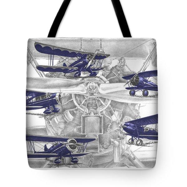 Wacos - Vintage Biplane Aviation Art With Color Tote Bag