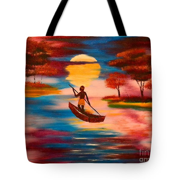 Tote Bag featuring the painting Wading For Magenta by Denise Tomasura