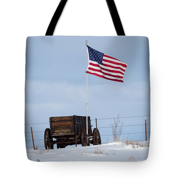 Wagon And Flag Tote Bag