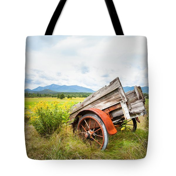 Tote Bag featuring the photograph Wagon And Wildflowers - Vertical Composition by Gary Heller