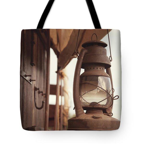 Wagon Lantern Tote Bag by Toni Hopper