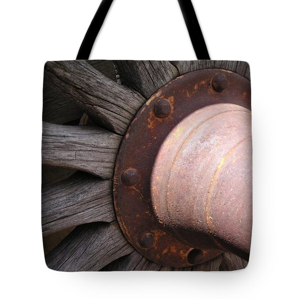 Tote Bag featuring the photograph Wagon Wheel by Diane Alexander
