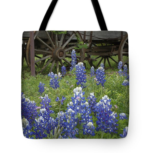 Tote Bag featuring the photograph Wagon With Bluebonnets by Susan Rovira