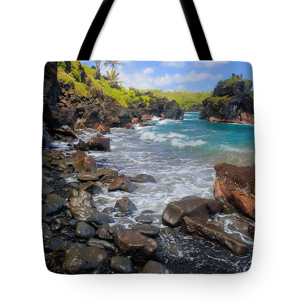 Waianapanapa Rocks Tote Bag by Inge Johnsson