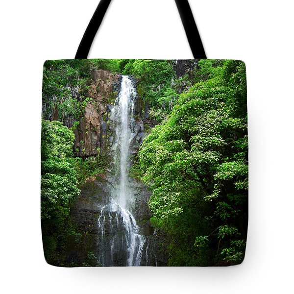 Tote Bag featuring the photograph Waikani Falls At Wailua Maui Hawaii by Connie Fox