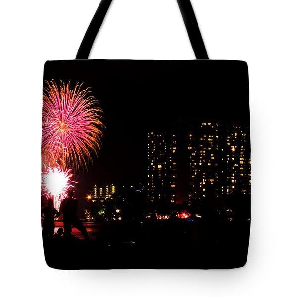Waikiki Fireworks Tote Bag