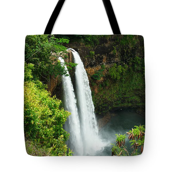 Wailua Falls Kauai Tote Bag by Photography  By Sai