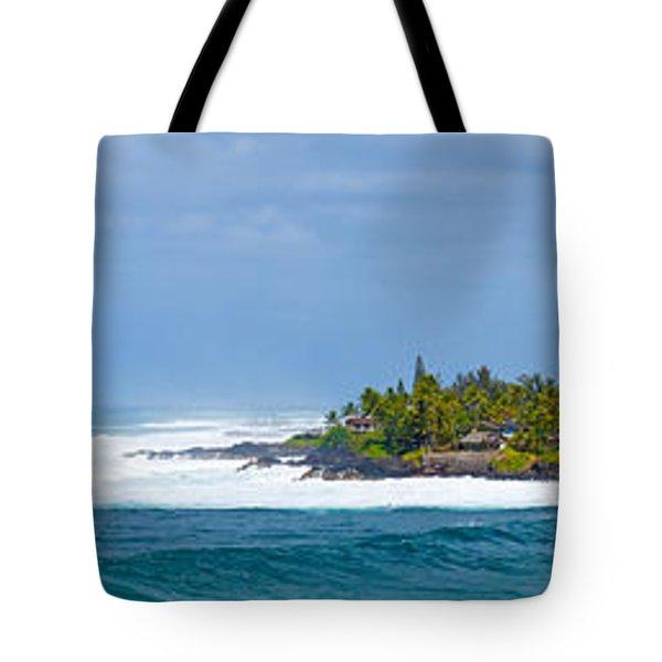Waimea Bay Panorama Tote Bag by Kevin Smith