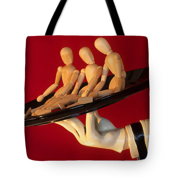 Waiter Serving 3 Dummies Tote Bag by Bob Christopher