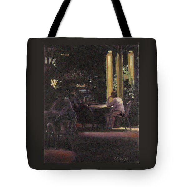 Waiting At The Night Cafe Tote Bag by Connie Schaertl