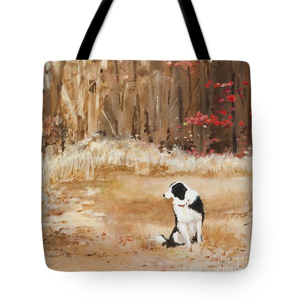 Waiting At Woods Edge Tote Bag by Carla Dabney