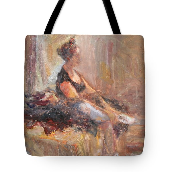 Waiting For Her Moment - Impressionist Oil Painting Tote Bag
