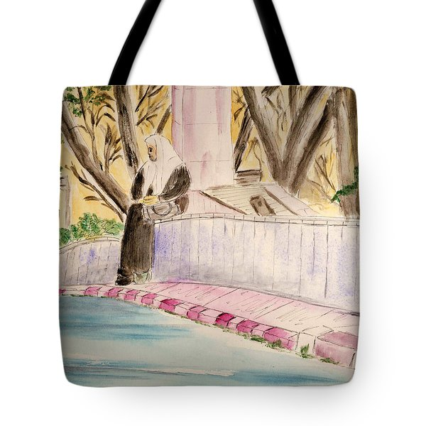 Waiting For Her Ride - Jerusalem Tote Bag by Linda Feinberg