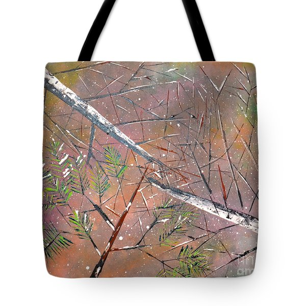 Tote Bag featuring the painting Waiting For Spring by Denise Tomasura