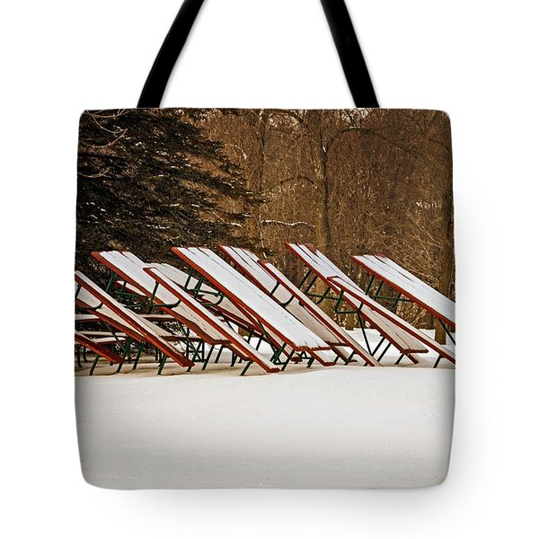Waiting For Summer - Picnic Tables Tote Bag by Mary Machare