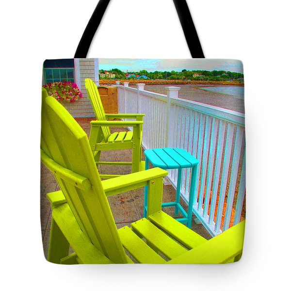 Waiting For Tide And Sunset Tote Bag by Barbara McDevitt