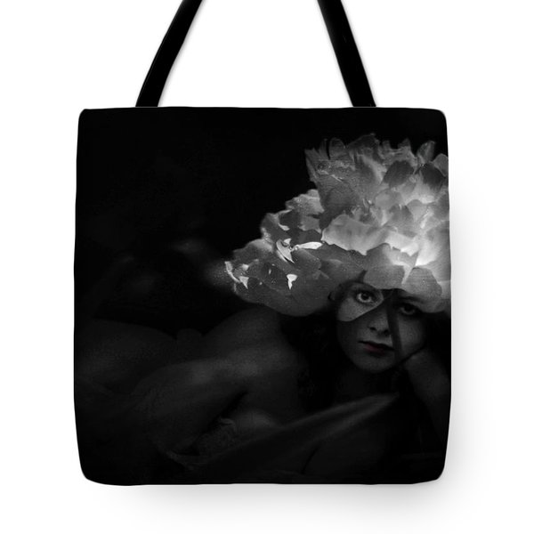 Waiting For You In The Night Garden Tote Bag by Rebecca Sherman