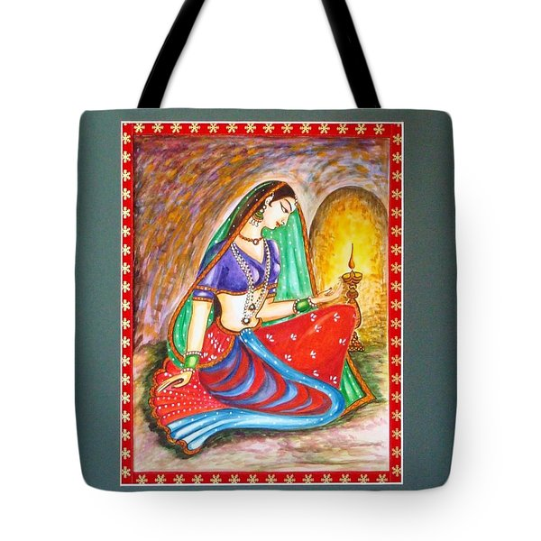 Tote Bag featuring the painting Waiting  by Harsh Malik