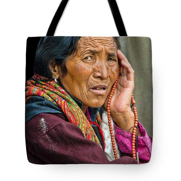 Waiting In Dharamsala For The Dalai Lama Tote Bag by Don Schwartz