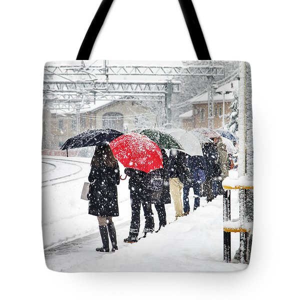 Waiting The Train Tote Bag