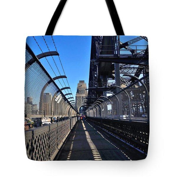 Walk Across Sydney Harbour Bridge Tote Bag by Kaye Menner