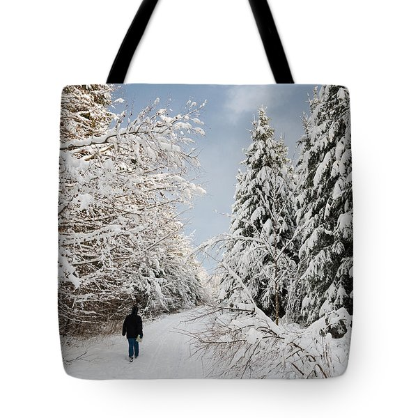 Walk In The Winterly Forest With Lots Of Snow Tote Bag by Matthias Hauser
