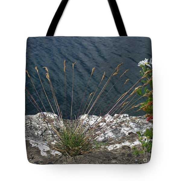 Tote Bag featuring the photograph Flowers In Rock by Brenda Brown