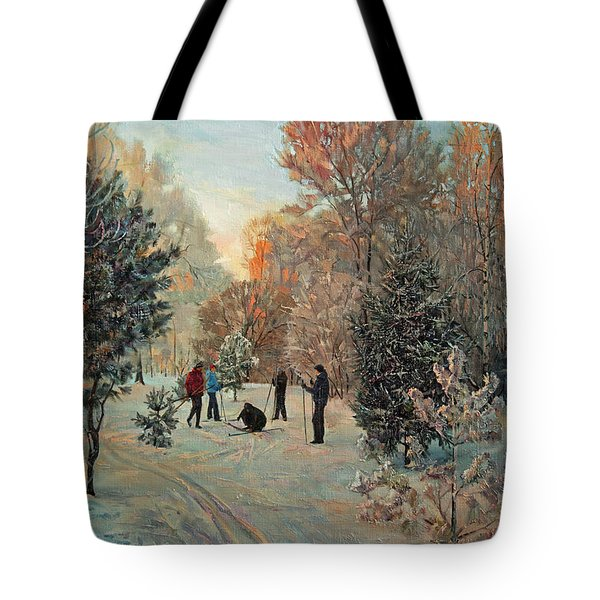 Walk To Skiing In The Winter Park Tote Bag