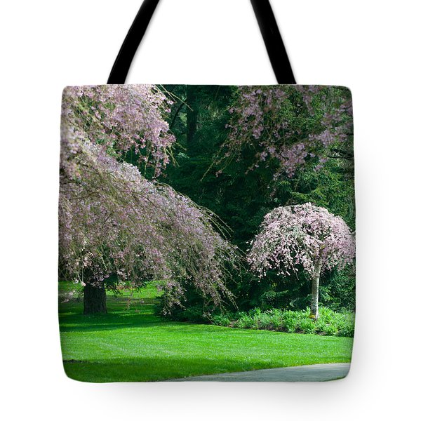 Tote Bag featuring the photograph Walk Under The Cherry Blossoms by Sabine Edrissi
