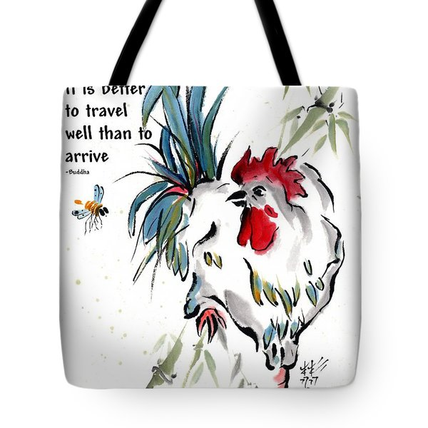 Tote Bag featuring the painting Walkabout With Buddha Quote I by Bill Searle