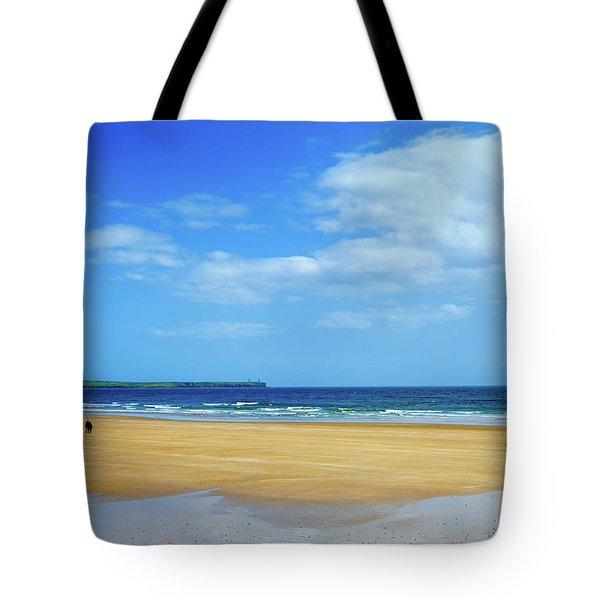 Walkers On The Strand In Tramore Tote Bag