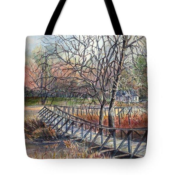 Walking Bridge Tote Bag by Janet Felts
