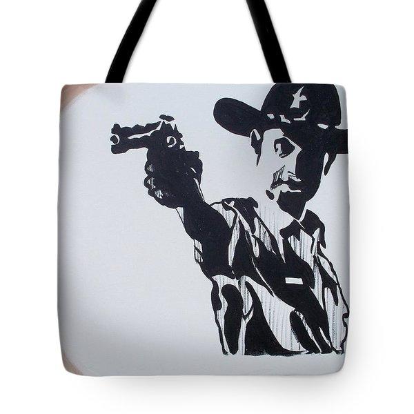 Walking Dead Rick Shoots Tote Bag by Marisela Mungia