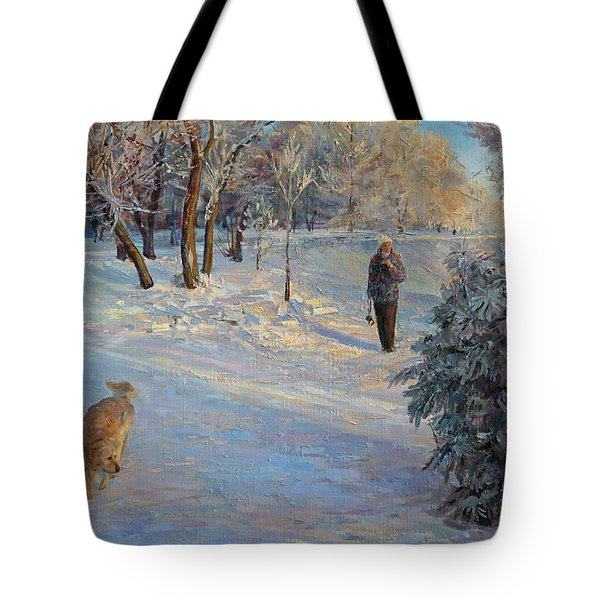Walking In A Winter Park Tote Bag