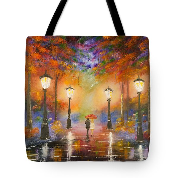 Tote Bag featuring the painting Walking In The Rain by Chris Fraser