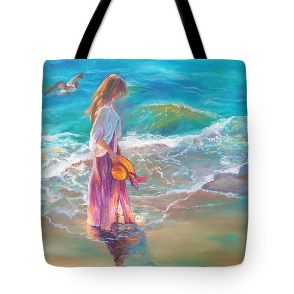 Tote Bag featuring the painting Walking In The Waves by Karen Kennedy Chatham