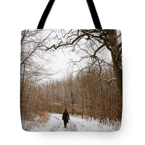 Walking In The Winterly Woodland Tote Bag by Matthias Hauser