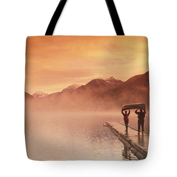Walking On Dock Robe Lake  Sunrise Sc Tote Bag by Michael DeYoung