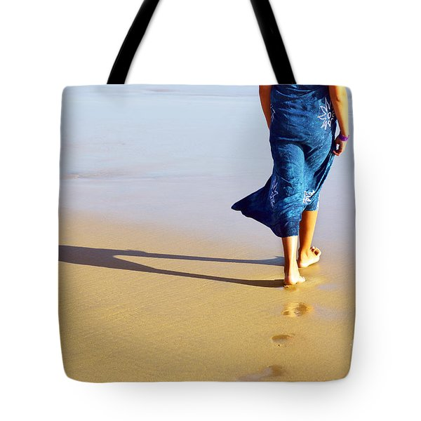 Walking On The Beach Tote Bag by Carlos Caetano