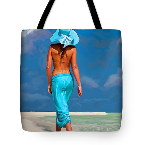 walking on the beach V Tote Bag