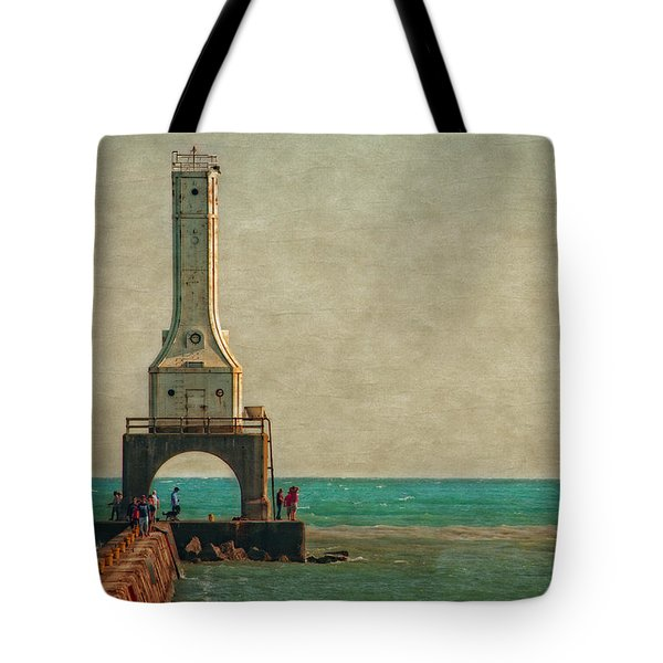 Walking On The Breakwater Tote Bag by Mary Machare