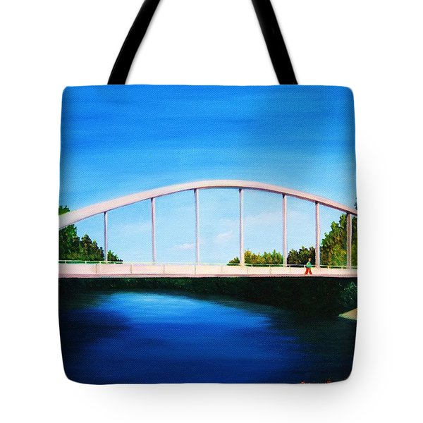 Walking On The Bridge  Tote Bag