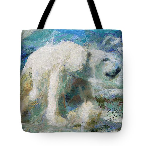 Tote Bag featuring the painting Cold As Ice by Greg Collins