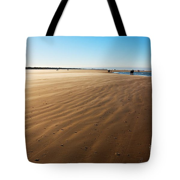 Walking On Windy Beach. Tote Bag