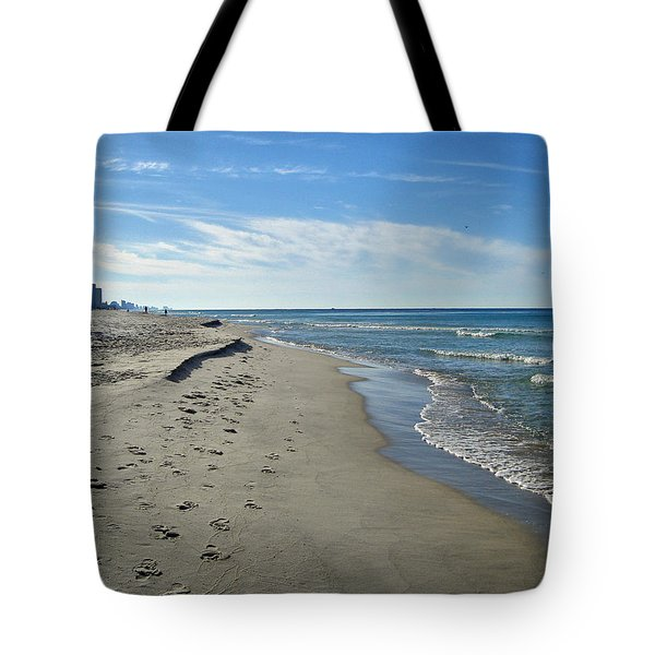 Walking The Beach Tote Bag by Sandy Keeton