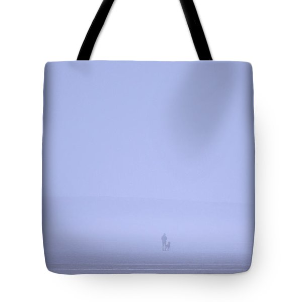 Walking The Dog In The Mist Tote Bag